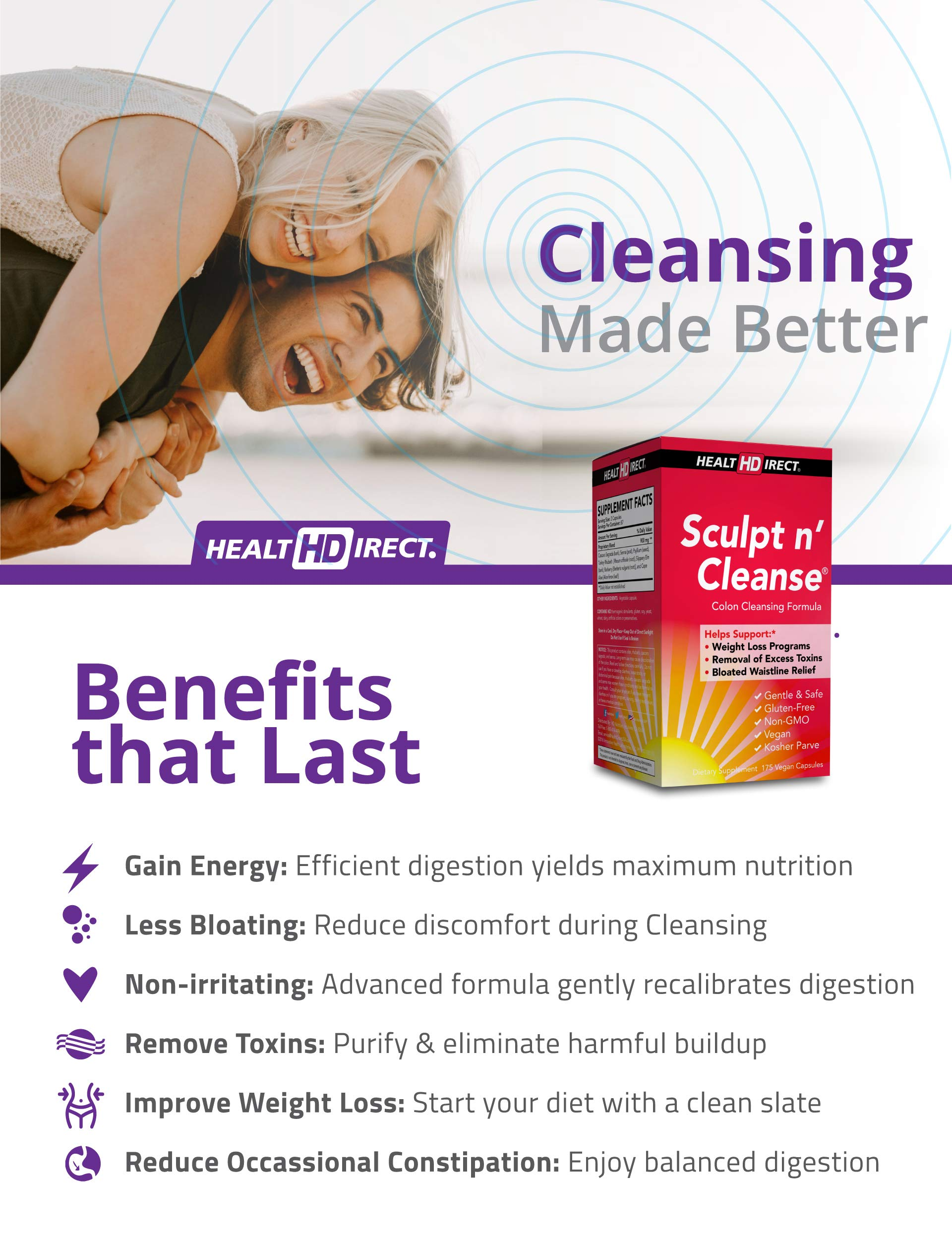 Sculpt n' Cleanse: Colon Cleanse, Detox, Weight Loss & Increased Energy Supplement | Vegan | Non GMO by Health Direct (Image #2)