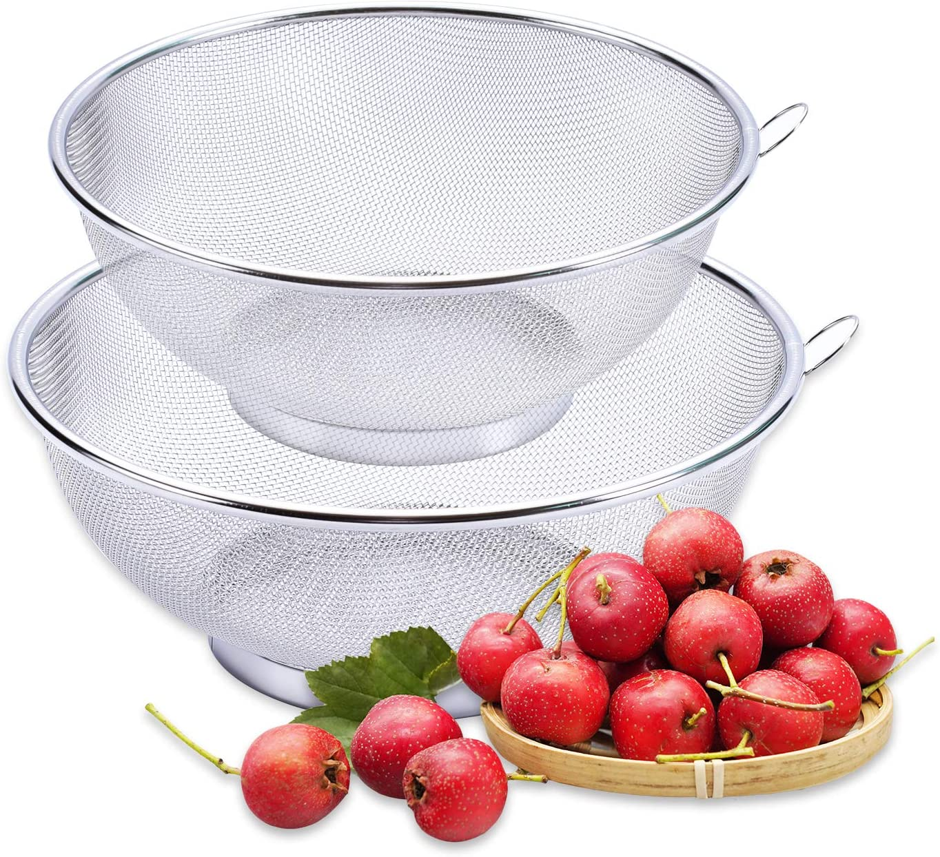 2Pcs Stainless Steel Mesh Colander Strainer Basket Drainer- Fine Mesh Strainer Rice Washing Bowl, Colander Sieve Sifters for Kitchen