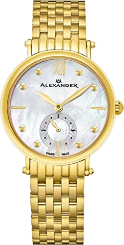 Amazon Com Alexander Monarch Roxana White Mother Of Pearl Large Face Stainless Steel Plated Yellow Gold Watch For Women Swiss Quartz Elegant Ladies Fashion Designer Dress Watch A201b 02 Alexander Watches