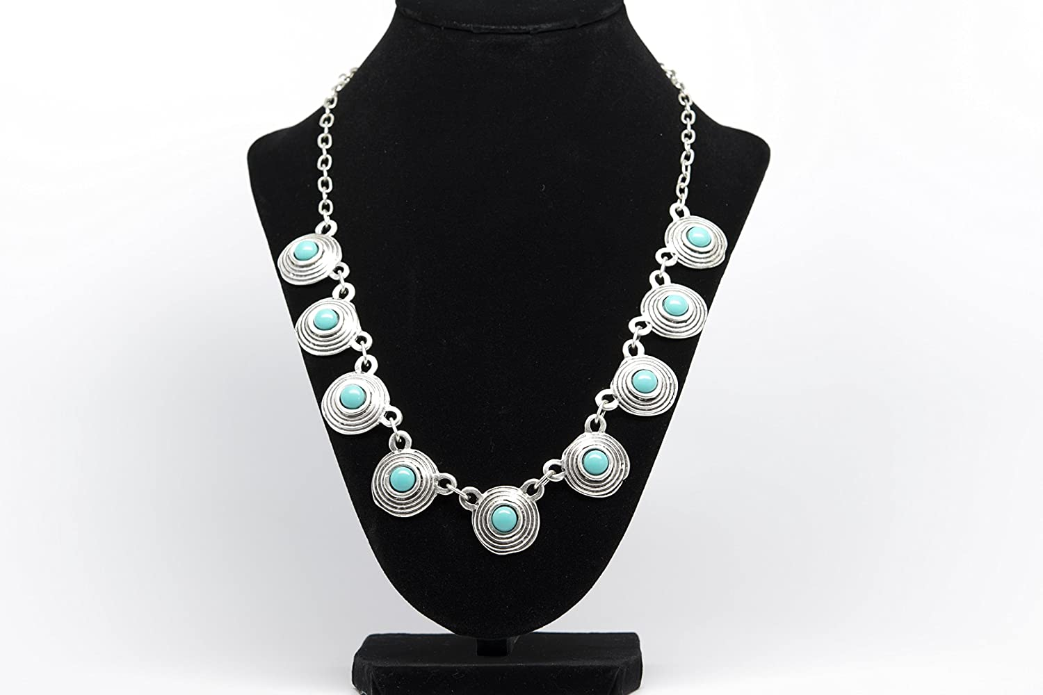 Orti Jewelry Turquoise Stone Antique Silver Plated Vintage Necklace with Adjustable Length