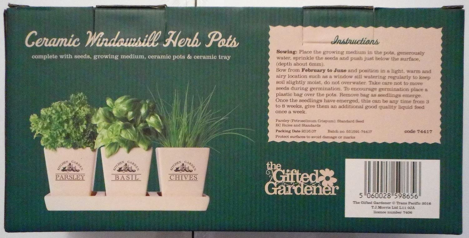 compost /& tray The Gifted Gardener Ceramic Windowsill Herb Pots including seeds