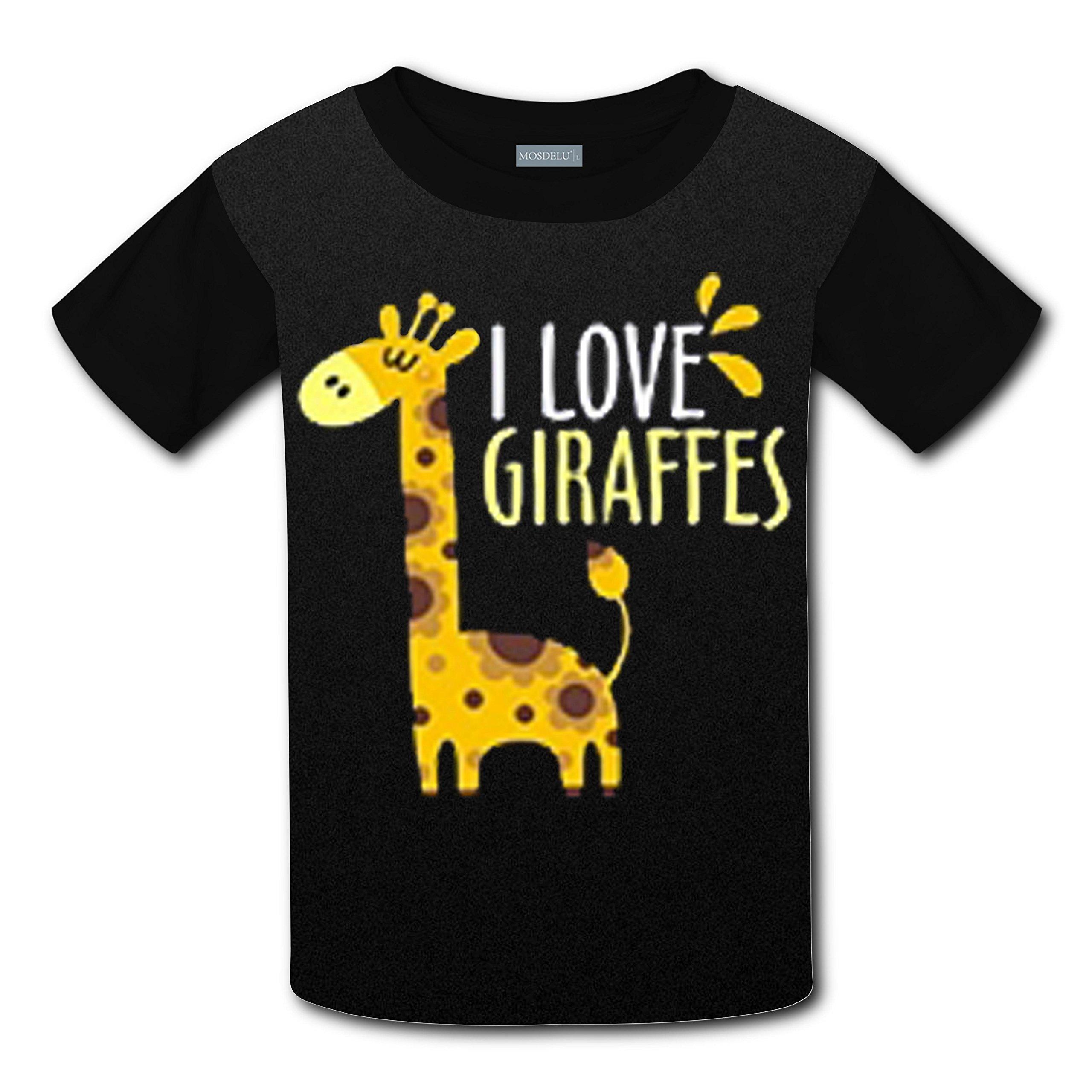 RODONO Unisex Kids I Love Giraffe 3D Printed Round Collar Short Sleeve T- Shirt