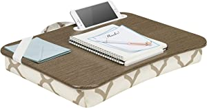 LapGear Designer Lap Desk with Phone Holder and Device Ledge - Beige Quatrefoil - Fits up to 15.6 Inch Laptops - Style No. 45426