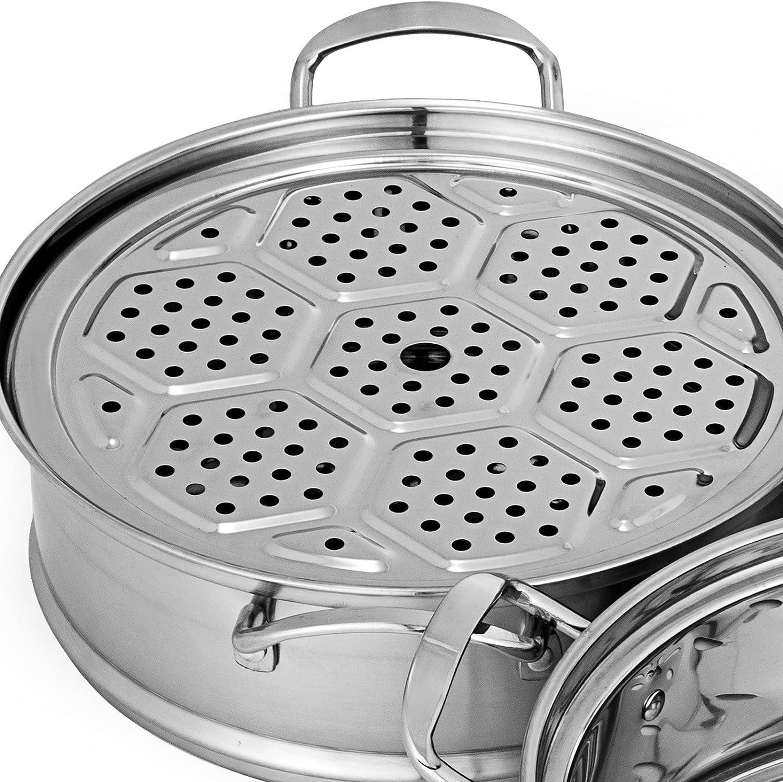 VEVOR 5 Etages Cuit Vapeur de 28mm Etuve /à Vapeur Cuit-Vapeur Dumpling Steamer Cuit-Vapeur en INOX R/échaud Commercial Stainless Steel Steamer Pot