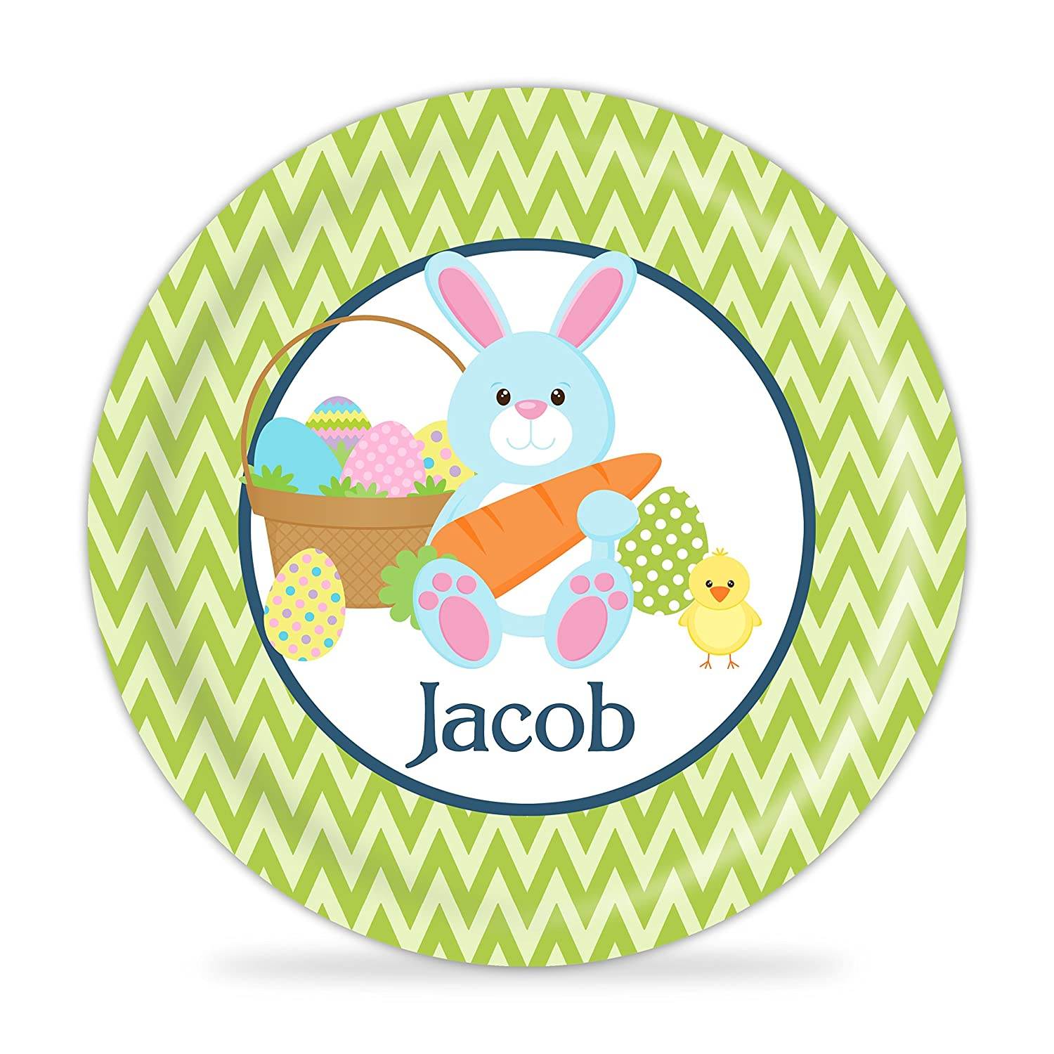 Green Chevron Blue Easter Bunny Melamine Personalized Plate Kids Easter Plate