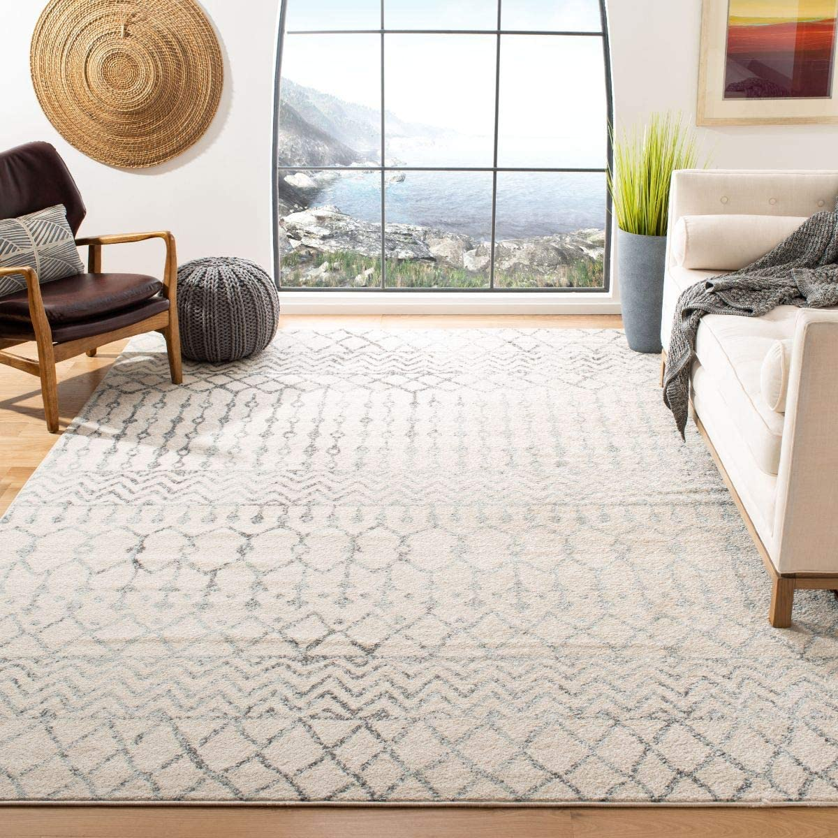 Safavieh Tulum Collection TUL270A Boho Moroccan Distressed Area Rug, 12 x 15 , Ivory Grey