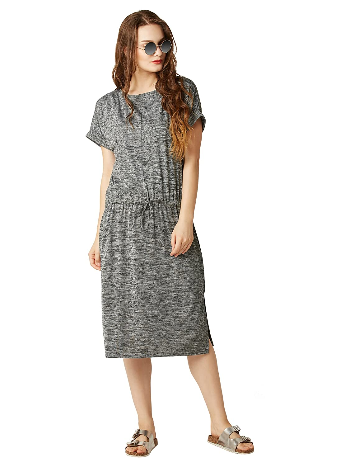 Women's Grey Midi Shift Dress
