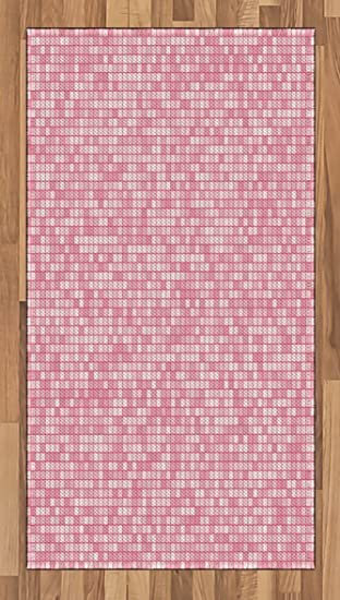 Amazon.com: Pink and White Area Rug by Ambesonne, Gingham Style ...
