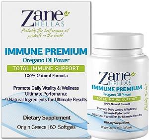 Zane Hellas Immune Premium Softgels. Immune Support. Multiple Defense System. Wellness Support. Provides Strong Antioxidants. 100% Herbal Solution. 120 Softgels. Pack of 2