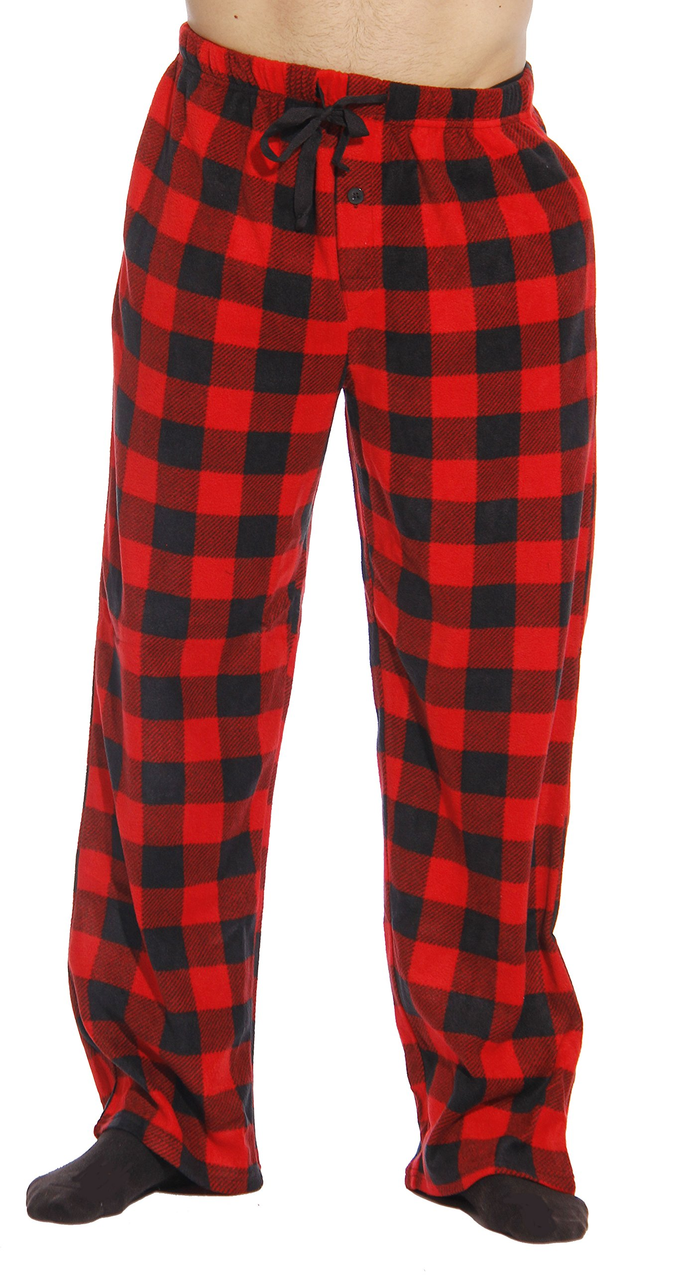 #FollowMe 45902-1A-M Polar Fleece Pajama Pants for Men/Sleepwear/PJs, Red Buffalo Plaid, Medium