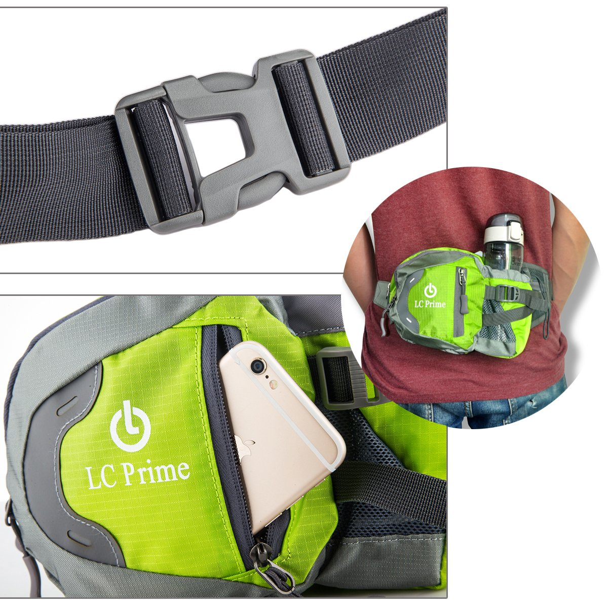by LC Prime Holder for Hiking Camping Dog Walking nylon fabric multicolored Not Included Waist Pack Fanny Pack Bum Bag Hip Pack Running Bag Waist Bag Running Belt Sack Water Resistant with Bottle