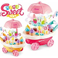 Magicwand® Pretend Play Sweet Shop Set with ,360 Revolving , Lighting & Music 4 Wheels Carrying Case Cart