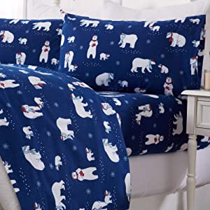 Great Bay Home 4 Piece Extra Soft Printed 100% Turkish Cotton Flannel Sheet Set. Heavyweight, Warm, Cozy, Luxury Winter Deep Pocket Bed Sheets. Whittaker Collection (King, Navy Polar Bears)