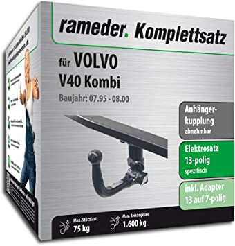 rameder Juego completo, remolque extraíble + 13POL Elektrik para Volvo V40 combinado (117603 - 01514 - 4): Amazon.es: Coche y moto