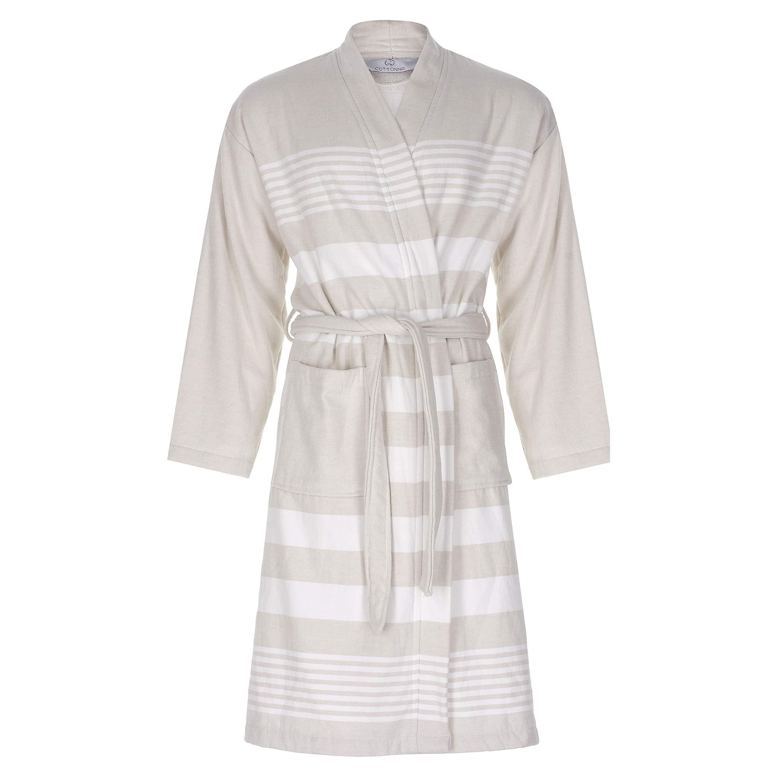 Cottonna 100% Turkish Cotton PeshTerry Bathrobe - Terry Cloth Interior and Peshtemal Exterior - Fouta Robe Hammam Collection (Moon-White)