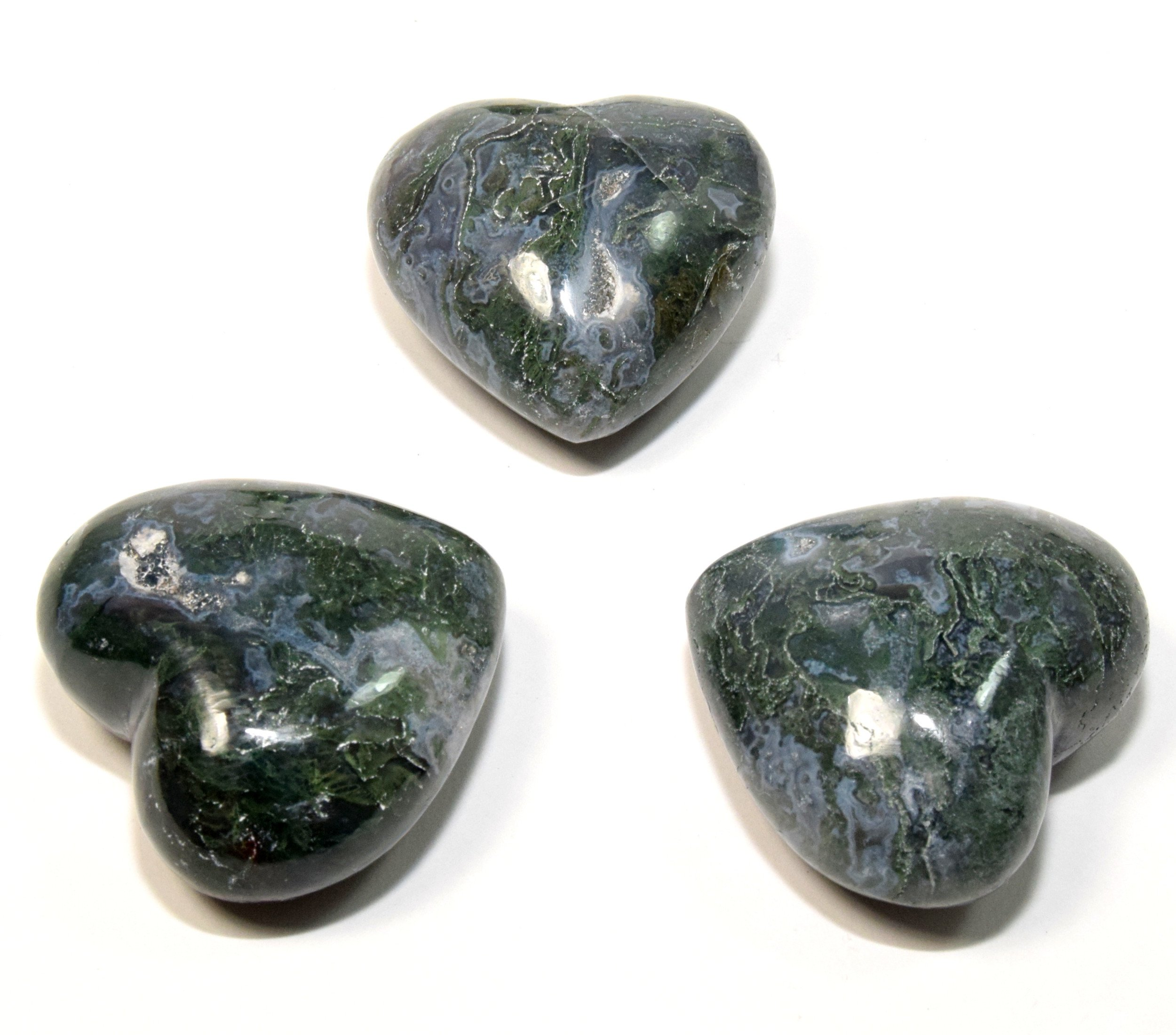 2'' Natural Green Moss Agate Puffy Heart Colorful Polished Sparkling Crystal Chalcedony Mineral Palm Stone Specimen from India (1PC)