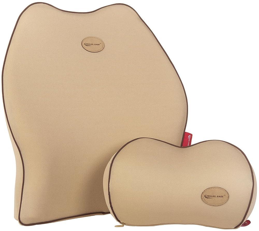 Travel Ease Premium Memory Foam Car Lumbar Cushion & Neck Pillow Kit(Beige)