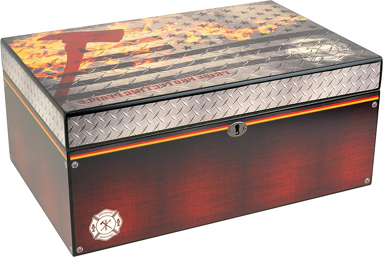 Humidor Supreme Red Line FD, Cigar Humidor Honoring Firefighters, Spanish Cedar Tray, 3 Dividers, Holds up to 100 Cigars, by Quality Importers