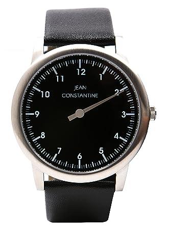 Jean Constantine - einzeiger Reloj unisex 5 ATM Piel Pulsera einzeiger Reloj de pulsera reloj color: blanco y negro, 42 mm: Amazon.es: Relojes