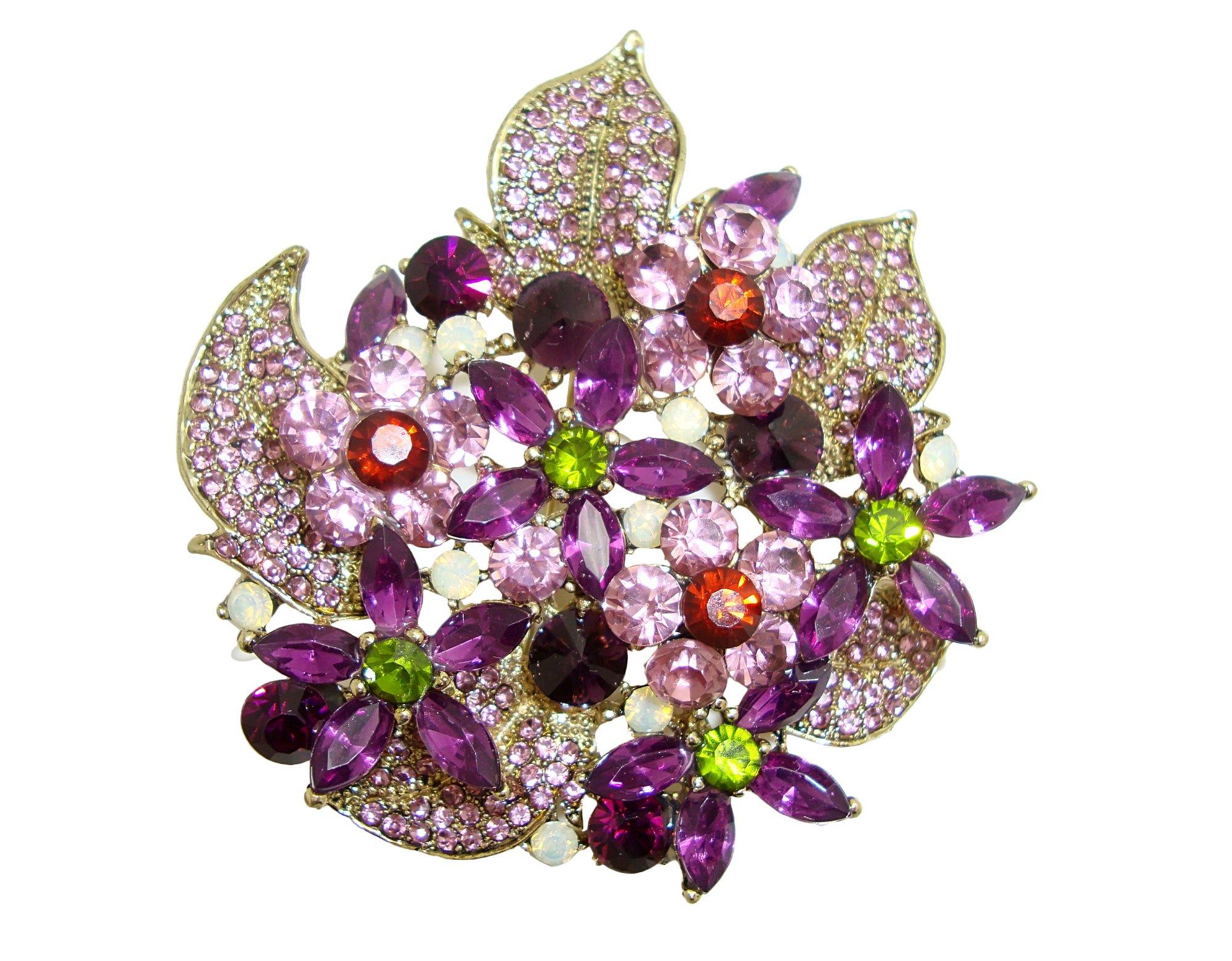 TTjewelry Gorgeous Flower Cluster Purple Austria Crystal Brooch Pendant