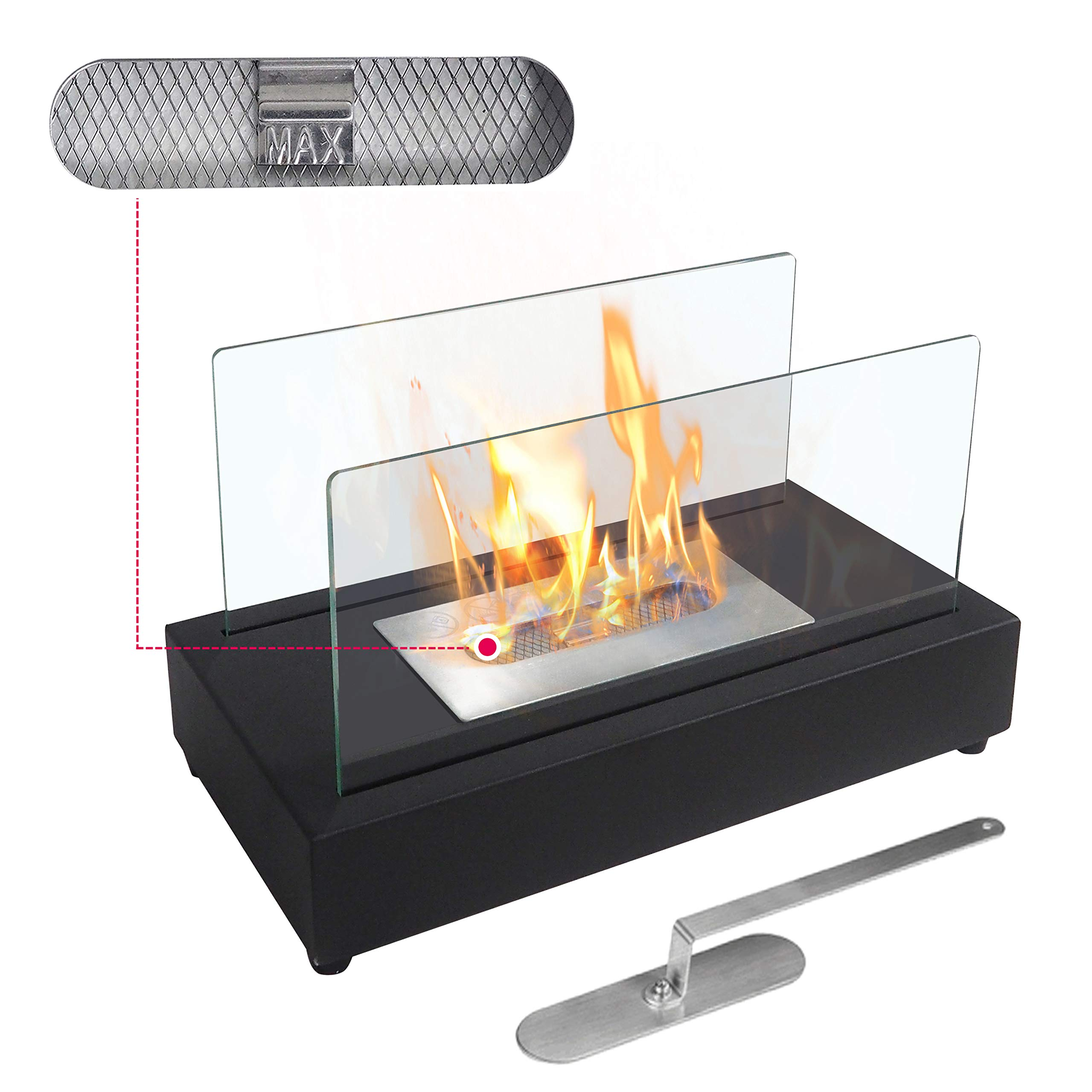ATR ART TO REAL Upgrades Rectangle Tabletop Bio Ethanol Fireplace Indoor Outdoor Fire Pit Portable Fire Bowl Pot Fireplace in Black, Realistic Burning by ATR ART TO REAL