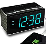 iTOMA Radio Alarm Clock FM Digital Radio Clock Bedside Alarm Clock, Wireless Bluetooth Stereo Speakers,Dual Alarms,Auto Brightness,Dimmer Control,1.4-inch Large Ice Blue LED Display,USB Charging,Auxiliary Input,Backup Battery(CKS3501BT)…