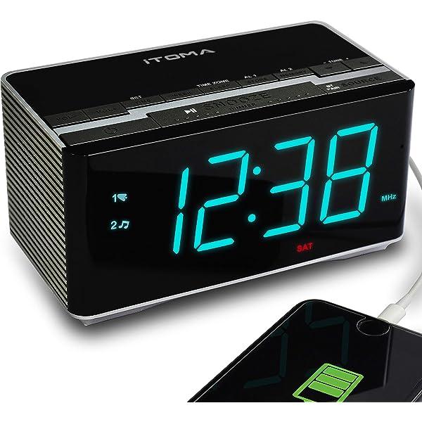 Phone Charging iTOMA 503 Radio Alarm Clock FM Bluetooth Speaker Auto Time Set