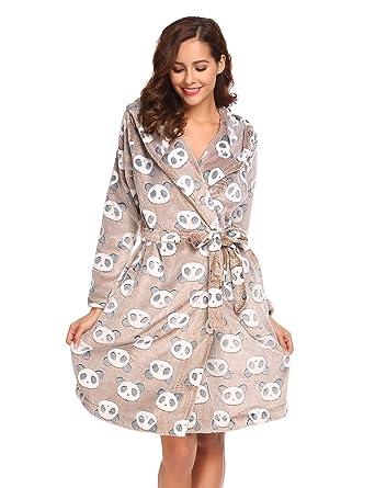 a67ba120ba716 Onbay Femme Robe de Chambre Hiver Peignoir Polaire à Capuche Floral Fleece  Peignoir de Bain avec Ceinture: Amazon.fr: Vêtements et accessoires