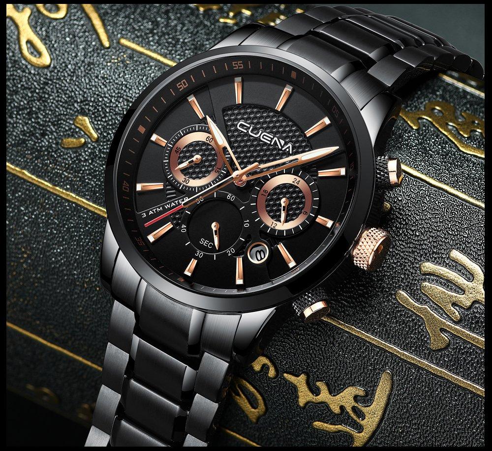 CUENA Men's Quartz Watch Waterproof Quartz Fashion Wrist Watch with Date Function Classic Business Stopwatch