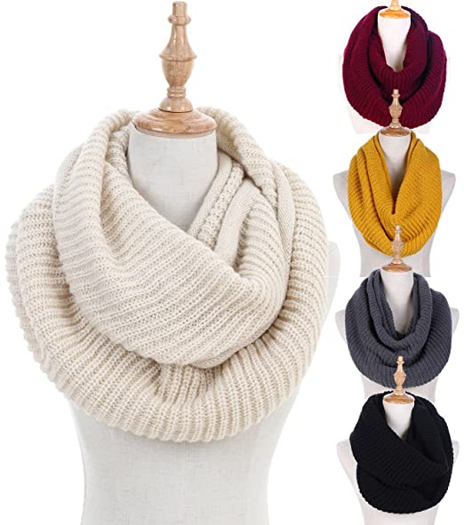 06cd05bc88c Women Winter Knit Infinity Scarf Circle Loop Scarf Beanie Set Thick Neck  Warmer Scarf