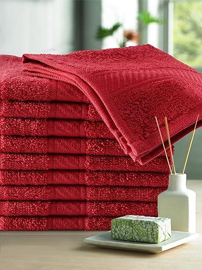 Trident Cotton Face Towel Set OF 10 Pcs 400 GSM (Red, 30x30 cm)