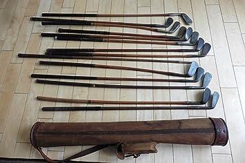 14 antiguo de nogal de madera palos de golf & 1917 Vintage ...