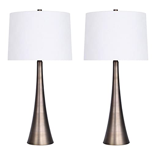 Grandview Gallery 29.5 Matte Golden Bronze Metal Table Lamp Set with Tapered Curve Design and Off-White Linen Drum Shades – Modern Lighting Perfect for Nightstands and End Tables Set of 2