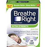 Breathe Right Extra Clear DrugFree Nasal Strips for Nasal Congestion Relief, 44 Count , 1 Count
