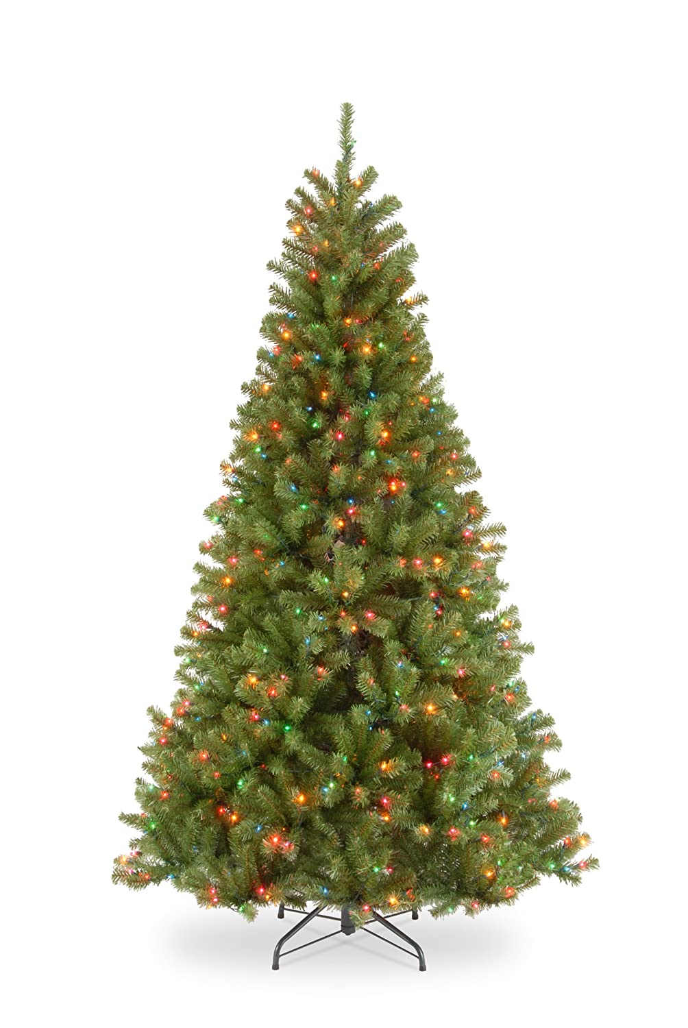 National Tree 7.5 Foot North Valley Spruce Tree with 550 Multicolor Lights, Hinged (NRV7-301-75) National Tree - Drop Ship