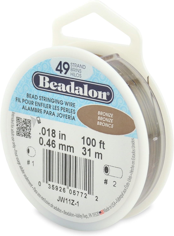 "Beadalon 49-Strand 0.018"" (0.46 mm) 100 ft (30.5 m) Bronze Bead Stringing Wire,"