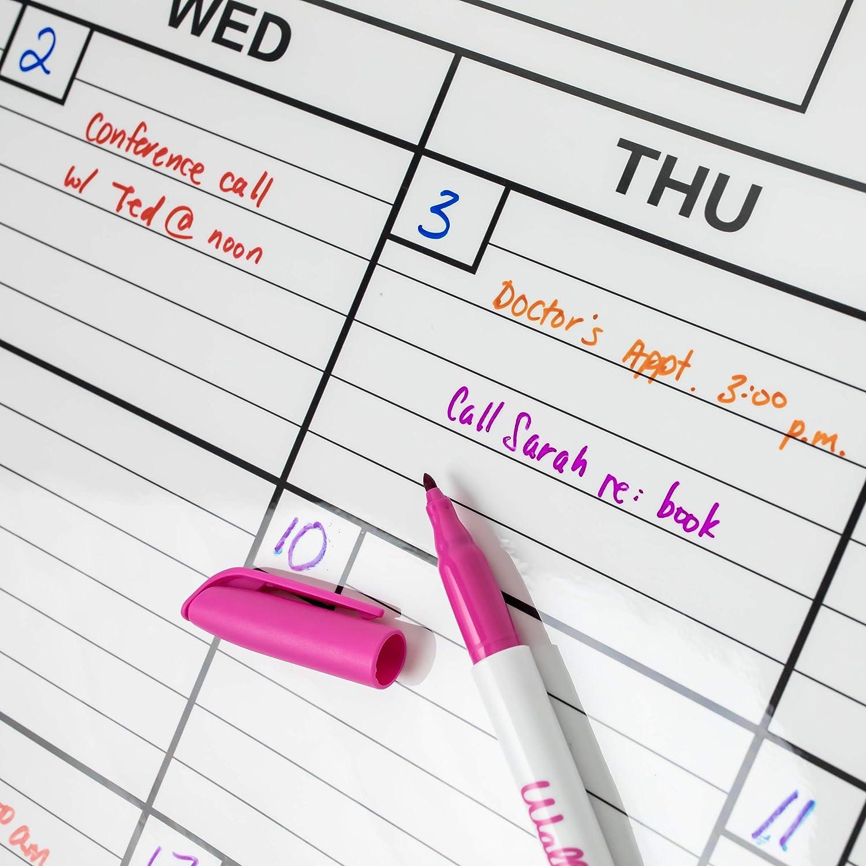 Perfetti per Calendari Laminati WallDeca Pennarelli Lavabili ad Acqua Punta Fine Pennarelli Atossici e Lavabili Confezione da 8 colori assortiti
