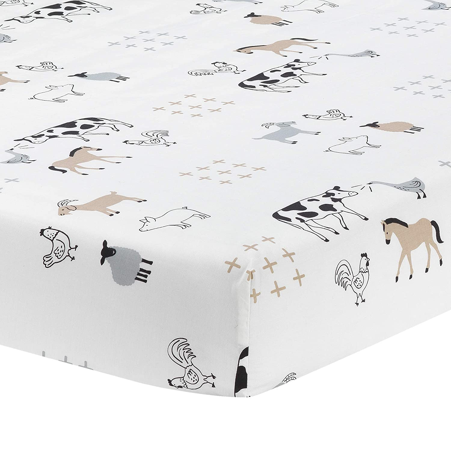 Lambs & Ivy Baby Farm Animals 100% Cotton Fitted Crib Sheet - White