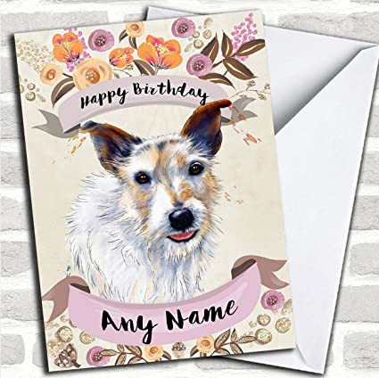 Amazon Rustic Gold Dog Jack Russell Personalized Birthday Card