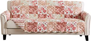 Great Bay Home Reversible Floral Patchwork Furniture Protector. Scalloped Edge Stain Resistant Printed Furniture Protector. Maribel Collection. (Sofa, Burgundy/Taupe)