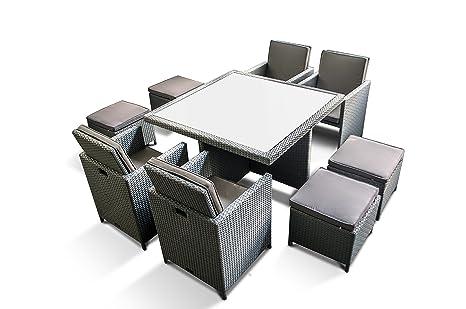 Set di mobili da giardino in polyrattan marchio tedesco tavolo con