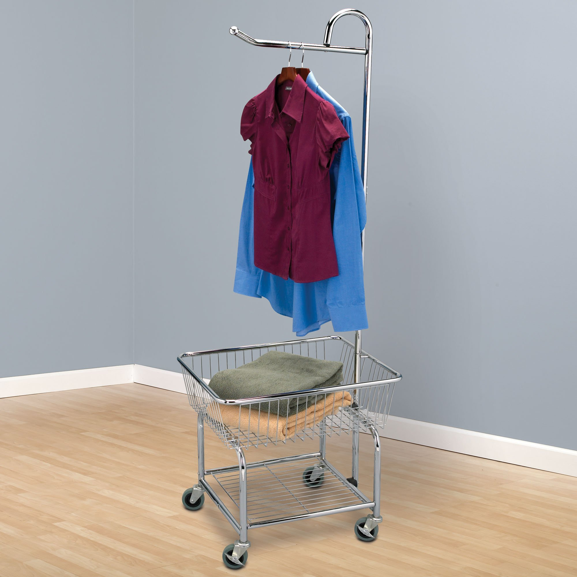 Household Essentials 6028 1 Rolling Laundry Cart With Hanging Bar