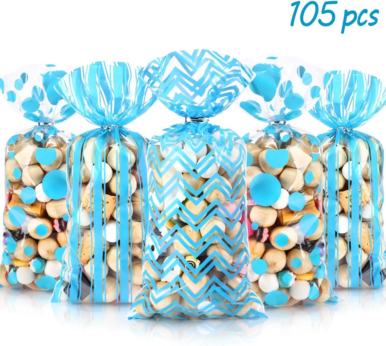 105 Piezas Bolsas de Regalo de Celofán de Baby Shower, Bolsas de Regalo de Caramelo con Estampado de Cheurón a Rayas de Lunares Azul Claro de Plásticas con 100 Lazos de Torcedura