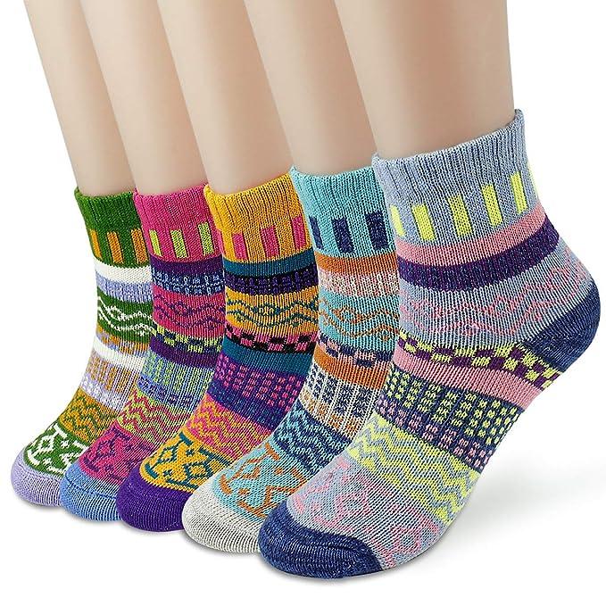 Dokpav 5 pares Calcetines mujeres Calcetines de invierno caliente Suave Cómodo Super Gruesa Calcetines Adulto mujer Calcetines Calcetines de algodon: ...