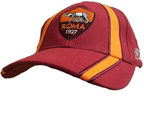 CAPPELLO CAPPELLINO ROMA UFFICIALE BERRETTO CAP rosso con VISIERA ... f7aa4b1dc149