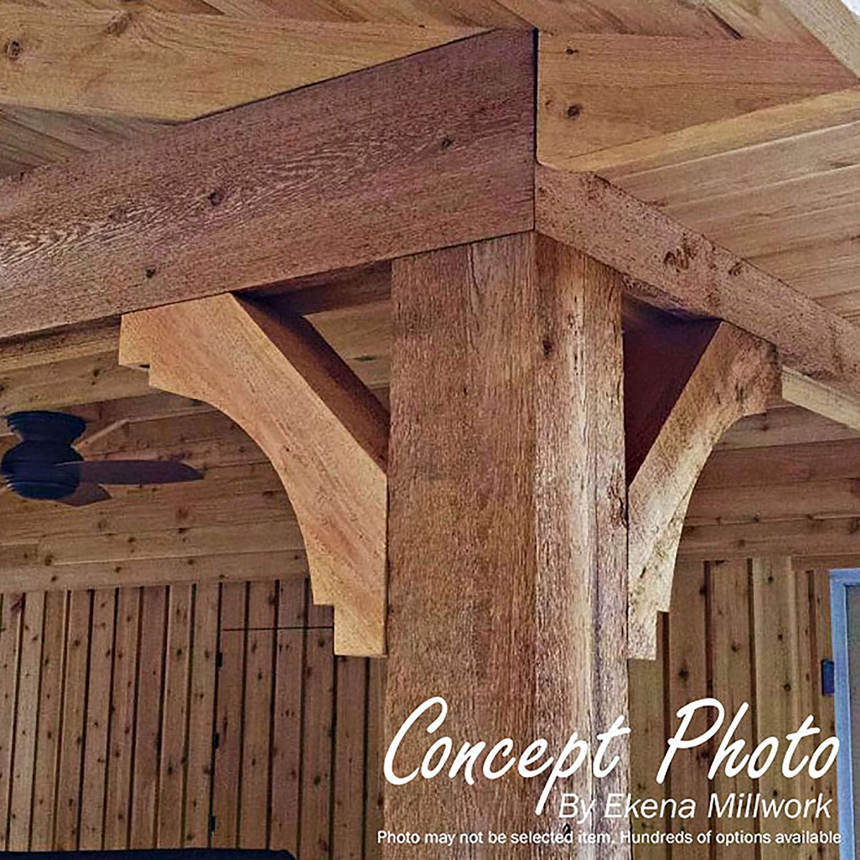 Western Red Cedar Ekena Millwork BRC06X16X16MRC00SWR Merced Smooth Brace 5 1//2 Width x 16 Depth x 16 Height