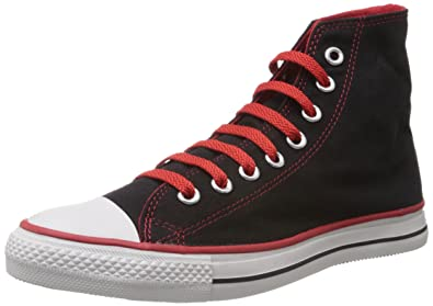 02d42279bd5 Converse Men s Black and Red Canvas Sneakers - 4 UK (502822)  Buy ...