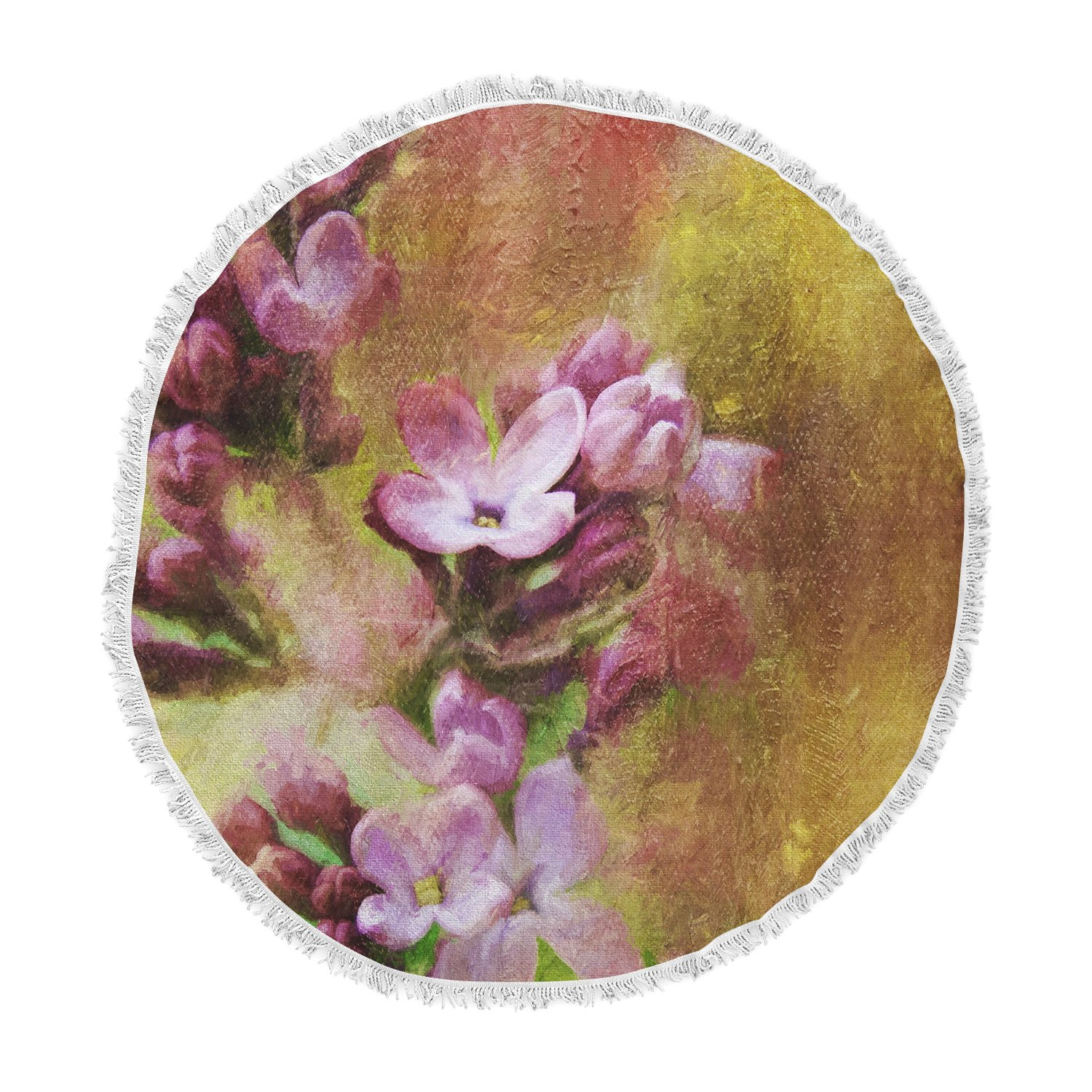 Kess InHouse Ginkelmier Lilacs in Yellow Pink Floral Round Beach Towel Blanket