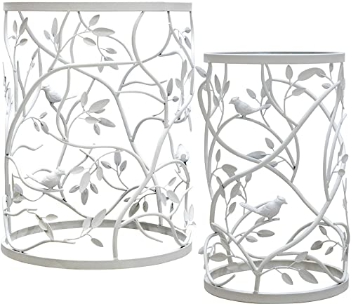 Palais Furnishings Feuilles Side Table, Metal Barrel End Table, Branch Bird Design White – Set of 2
