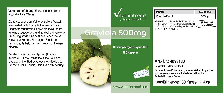 Graviola 500mg – Fruta Graviola en polvo – 180 cápsulas – Aporta energía y vitalidad – Guanábana en cápsulas